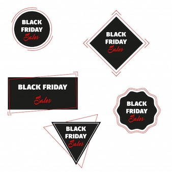 Insegne geometriche di vettore di vendite di black friday messe