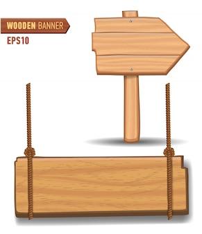 Insegne in legno, set di cartelloni in legno con segno di freccia