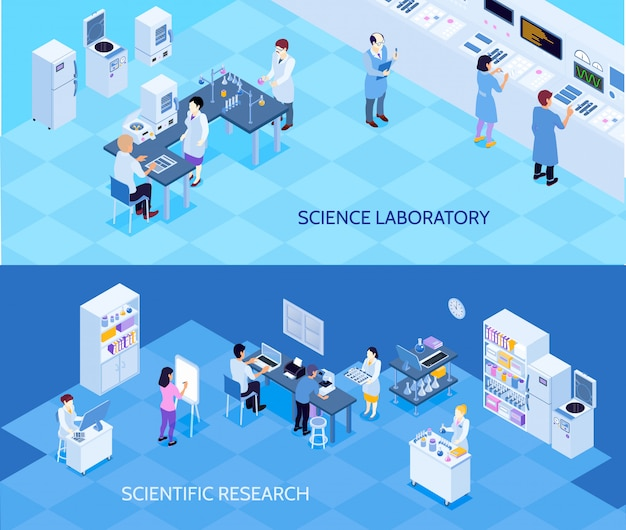 Insegne isometriche orizzontali del laboratorio di scienza con la gente che porta ricerca tecnologica su fondo blu