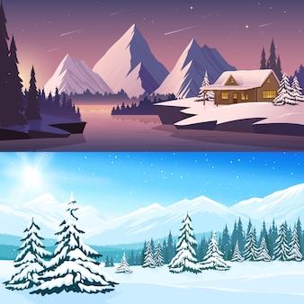 Insegne orizzontali del paesaggio di inverno con le montagne e gli alberi del fiume della casa nel giorno e nella notte