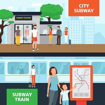 Insegne orizzontali della metropolitana con la gente vicino all'entrata della stazione che aspetta treno