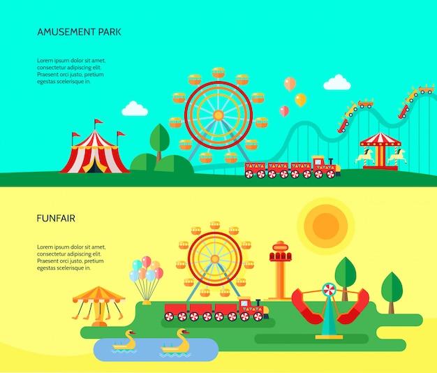 Insegne orizzontali di attrazioni del parco del parco della luna park di divertimenti con la tenda di circo itinerante