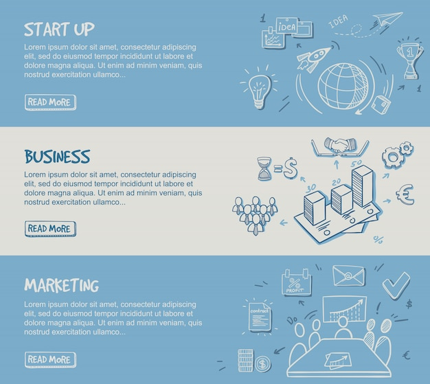 Insegne orizzontali di infographic di affari disegnati a mano