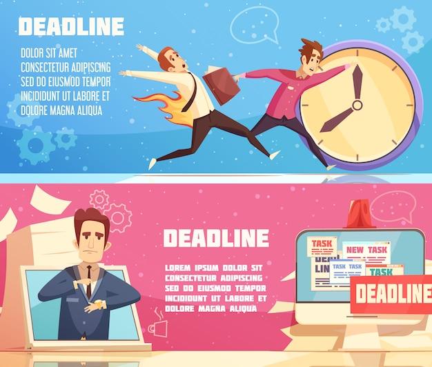 Insegne orizzontali di scadenza del lavoro di affari