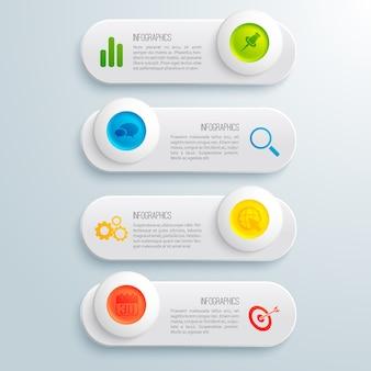 Insegne orizzontali infographic di affari messe con i cerchi variopinti del testo e l'illustrazione delle icone