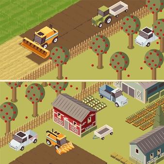 Insegne orizzontali isometriche del ranch