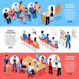 Insegne orizzontali isometriche di riunione d'affari