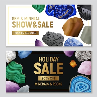 Insegne orizzontali realistiche dei minerali e delle rocce della gemma con la pubblicità della vendita e l'illustrazione di pietra variopinta di immagini