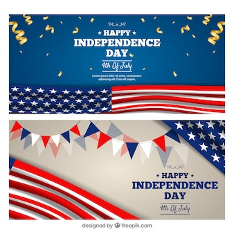 Insegne realistiche di festa dell'indipendenza degli sua
