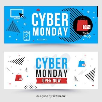 Insegne variopinte di lunedì cyber con progettazione piana