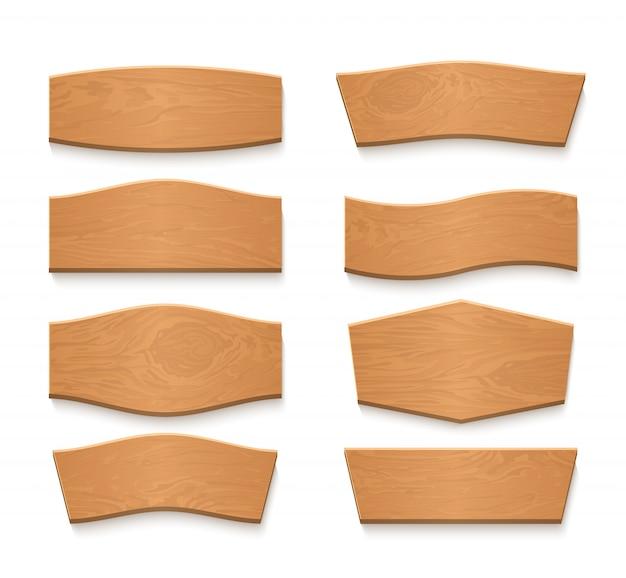 Insegne vuote di vettore del piatto marrone di legno del fumetto. set di nastri in legno vintage