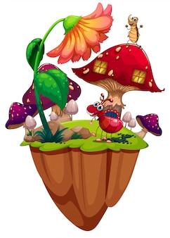 Insetti in giardino di funghi