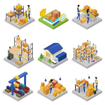 Insieme 3d isometrico di gestione del magazzino