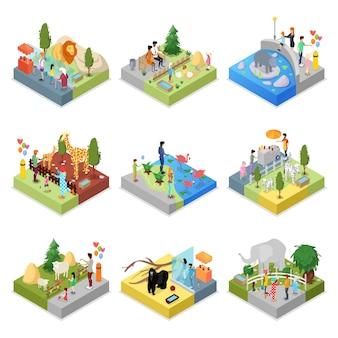 Insieme 3d isometrico di paesaggi dello zoo pubblico