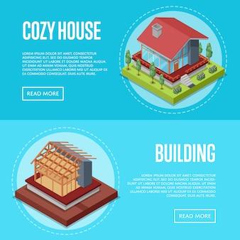 Insieme accogliente di web dell'insegna della costruzione di casa