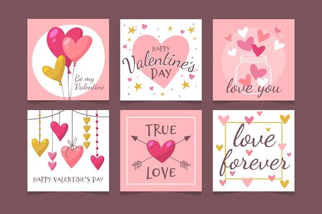 Insieme adorabile della posta del instagram di san valentino