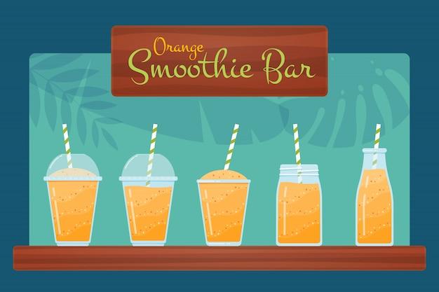 Insieme arancio dell'illustrazione del cocktail del frullato della frutta cruda