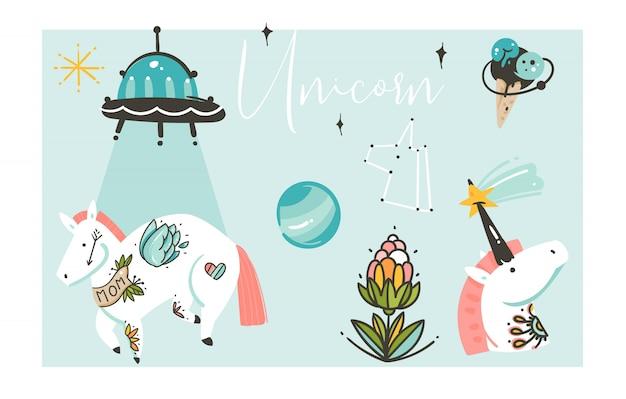 Insieme artistico creativo grafico disegnato a mano della raccolta delle illustrazioni del fumetto con gli unicorni isolati su fondo bianco
