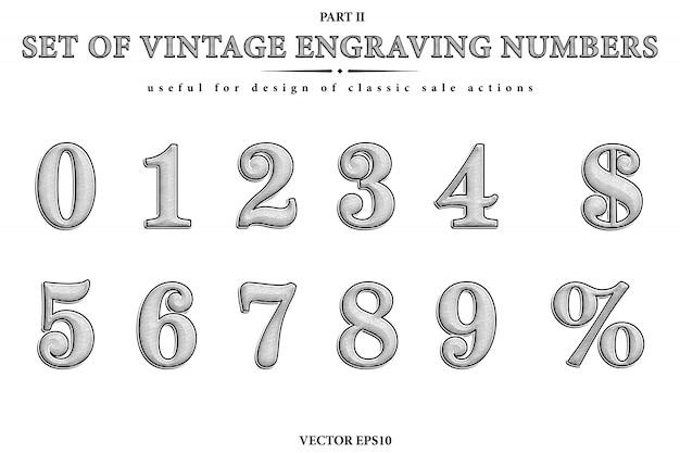 Insieme artistico dei numeri incisioni d'epoca. figure vettoriali da 0 a 9, sybmol del dollaro e segno di percentuale.