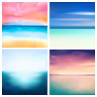 Insieme astratto del fondo vago natura. gli ambiti di provenienza vaghi quadrati hanno messo - i colori di verde dell'oceano del mare delle nuvole del cielo