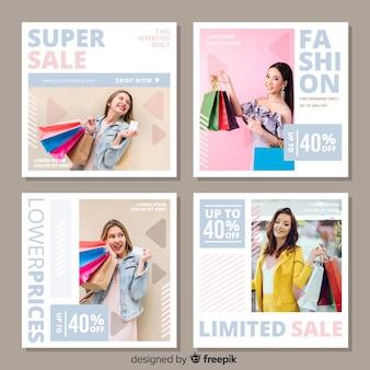 Insieme astratto della posta del instagram di vendita di modo