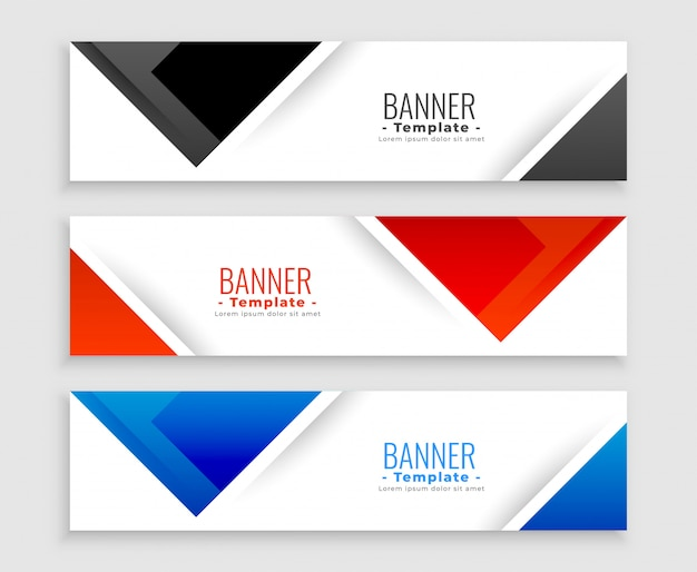 Insieme astratto delle bandiere moderne nelle forme del triangolo