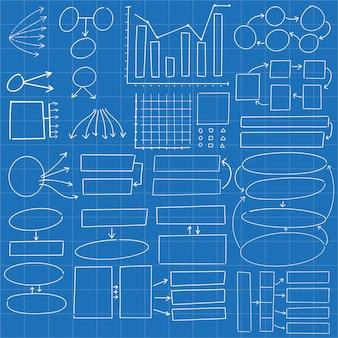 Insieme astratto di progettazione di scarabocchio dei cerchi e di rettangoli infographic del diagramma disegnato a mano
