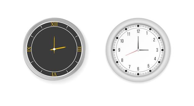 Insieme bianco e nero dell'icona dell'orologio dell'ufficio della parete. moderni orologi da parete rotondi bianchi, neri, quadrante nero e orologio da tempo.
