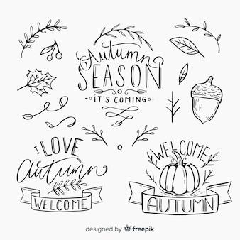 Insieme calligrafico autunno scritto a mano