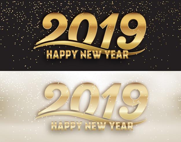 Insieme calligrafico di disegno della copertura della pagina di media sociali del nuovo anno