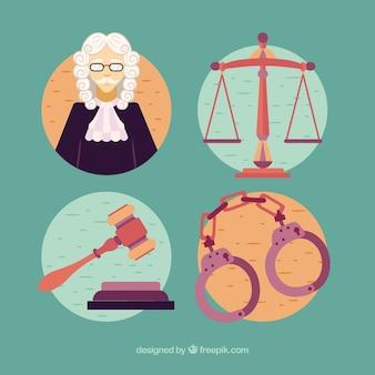Insieme classico di elementi di legge e giustizia