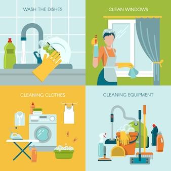 Insieme colorato di concetto dell'illustrazione di pulizia