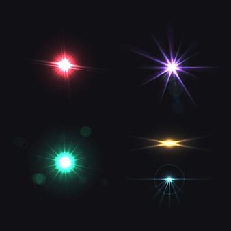 Insieme colorato realistico di effetti luminosi dell'obiettivo isolato