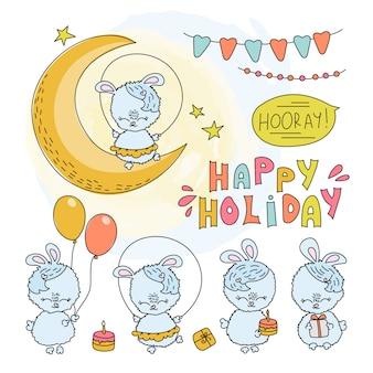 Insieme comico dell'illustrazione di vettore del fumetto di compleanza del bunny