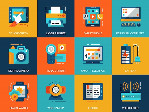 Insieme concettuale piano dei concetti delle icone dei dispositivi del personal computer