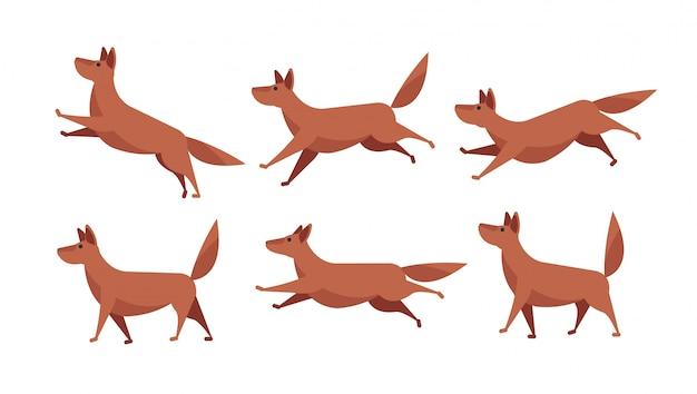Insieme corrente dello strato di sprite di animazione del cane del fumetto isolato