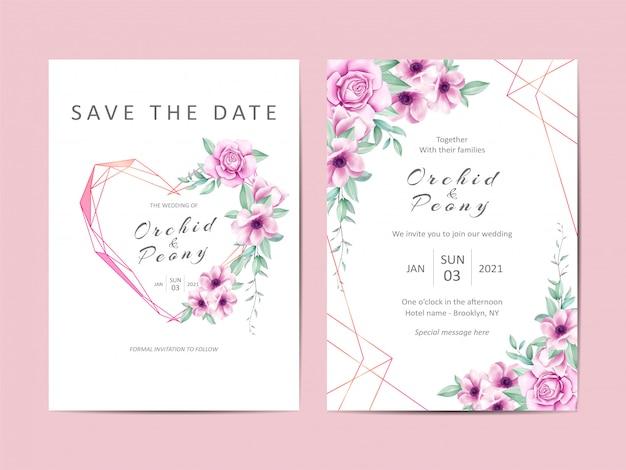 Insieme creativo del modello dell'invito di nozze dell'acquerello floreale