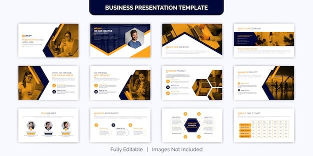 Insieme creativo di progettazione del modello della diapositiva di presentazione di affari