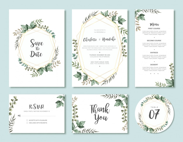 Insieme d'annata del modello della carta dell'invito di nozze delle foglie dell'acquerello