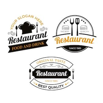 Insieme d'annata dell'illustrazione di logo del ristorante