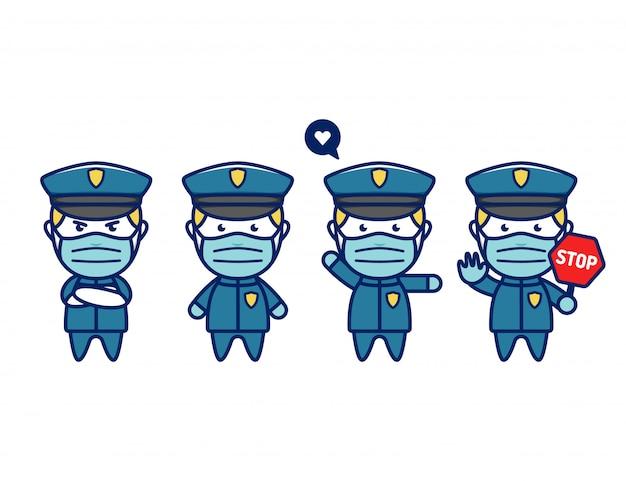 Insieme d'uso della maschera dell'ufficiale di polizia chibi sveglio
