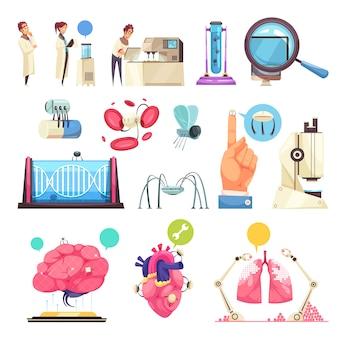Insieme decorativo di nanotecnologie di micro chip degli organi umani e delle apparecchiature di laboratorio isolati