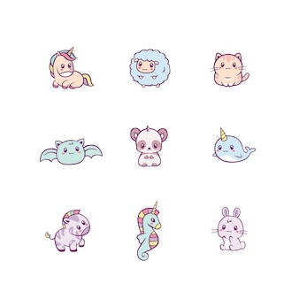 Insieme degli animali felici adorabili del bambino e delle creature di favola isolati su bianco. fascio di personaggi dei cartoni animati divertenti. illustrazione piatta colorata per bambini in stile kawaii carino.