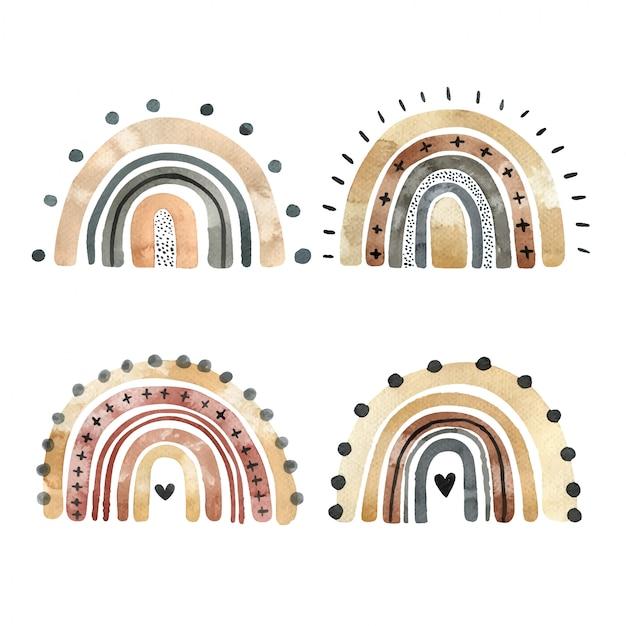 Insieme degli arcobaleni alla moda dell'acquerello isolati su una priorità bassa bianca. elementi disegnati a mano per logo, decorazione della scuola materna, tessile e altri scopi.