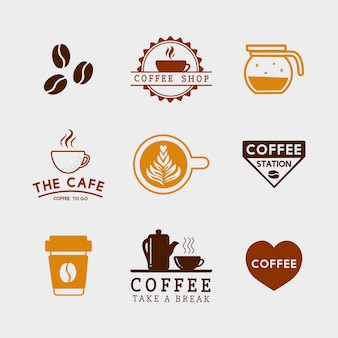 Insieme degli elementi del caffè e del vettore degli accessori del caffè