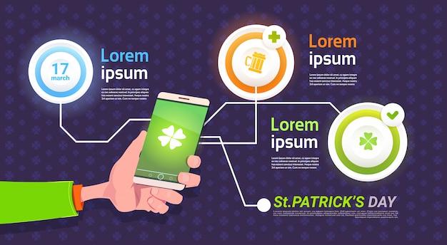 Insieme degli elementi di infographic per il fondo del modello di celebrazione di festa del giorno di st patrick felice