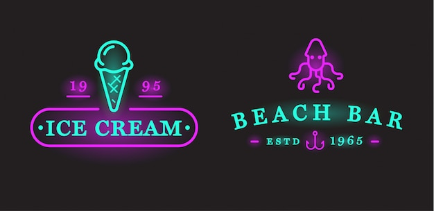 Insieme degli elementi e dell'estate della barra del mare della spiaggia dell'insegna al neon di vettore