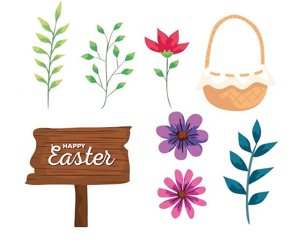 Insieme degli elementi felici di pasqua con il segno di legno e i fiori isolati
