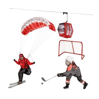 Insieme degli elementi isolati dell'illustrazione dell'acquerello degli sport invernali.