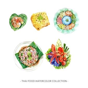 Insieme degli elementi isolati dell'illustrazione tailandese dell'alimento dell'acquerello.